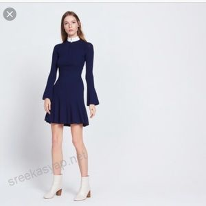 Sandro Royal blue knit dress with jewelry zipper